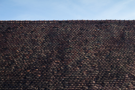 transylvania: Large traditional tile roof from Viscri, Transylvania Stock Photo