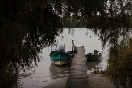 motorboats: Motorboats by the pier in Sfantu Gheorghe, in Danube Delta