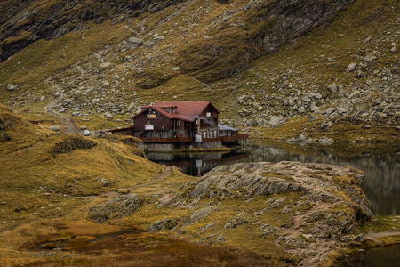balea: The Balea lake and chalet along the Transfagarasan road Editorial