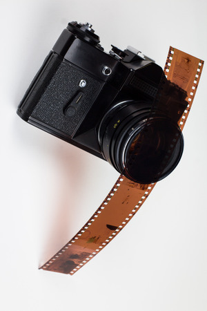 analogue: Analogue film photo camera with one filmstrip