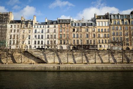 river banks: Traditional Parisian apartment buildings near the Seine river banks