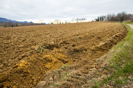 ploughed: Ploughed agriculture field in the South of France Stock Photo