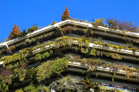 futurist: Eco building with greenery on balconies