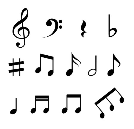 Set of music notes vector  イラスト・ベクター素材