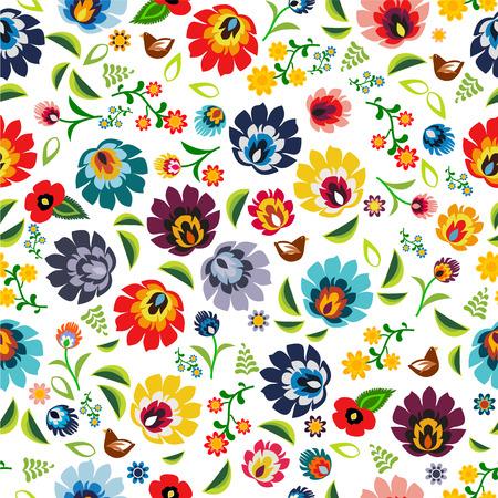 폴란드어의 전통 민속 꽃 패턴 벡터 일러스트