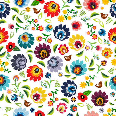 folk art: Traditional Polish folk floral pattern vector