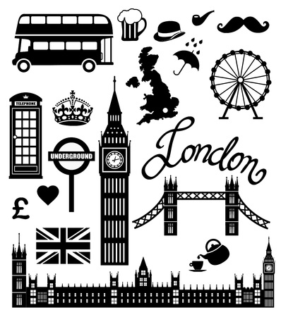 london tower bridge: London icon set vector collection