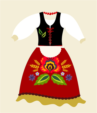 Polish folk traditional clothing vector