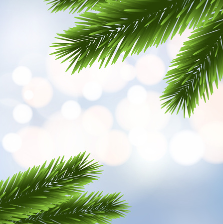Christmas tree branches over the blurred bokeh background vector Illustration
