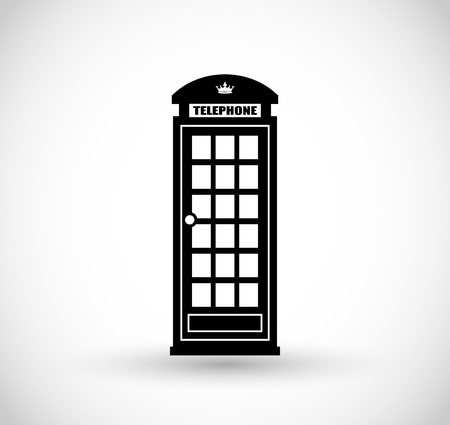 stereotypes: London telephone booth icon vector