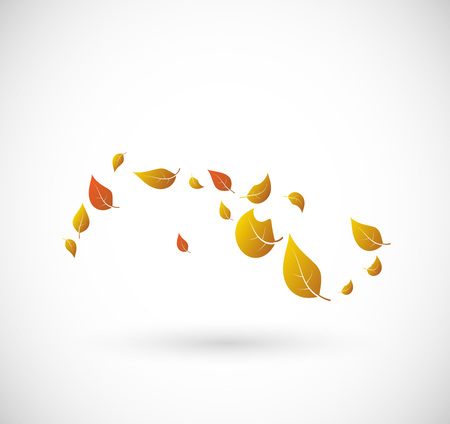 lush foliage: Leaves flying with the wind vector