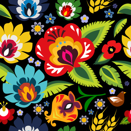 Traditional folk floral pattern vector