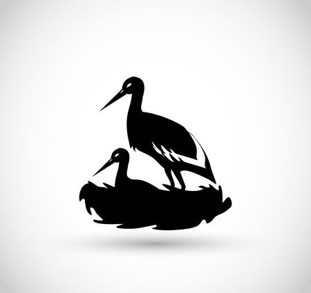 Cigüeña del icono del vector Foto de archivo - 77874283