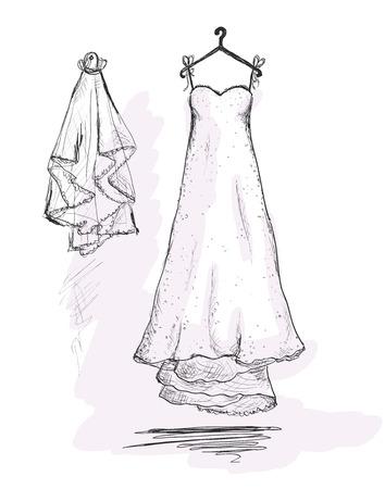 2019 year look- Dress wedding on hanger drawing photo
