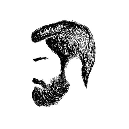 トレンディな理髪店、木こり、流行に敏感な芸術のヘアカットと描かれた男性のひげを手します。