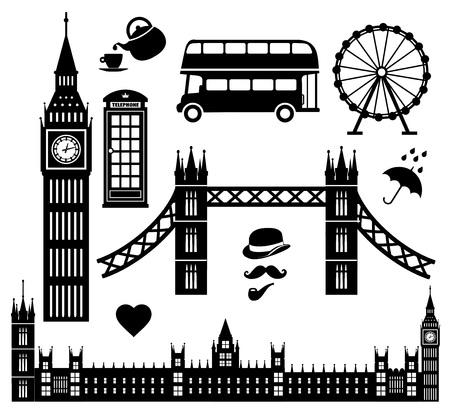 Londen icon set collectie Stock Illustratie