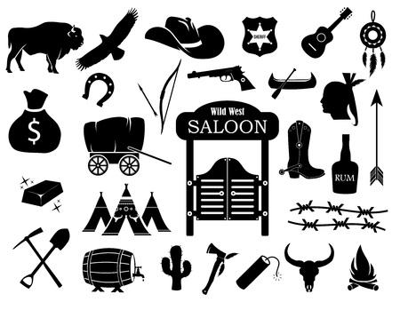 Cowboy, westelijk, wild west vector icon set Stock Illustratie