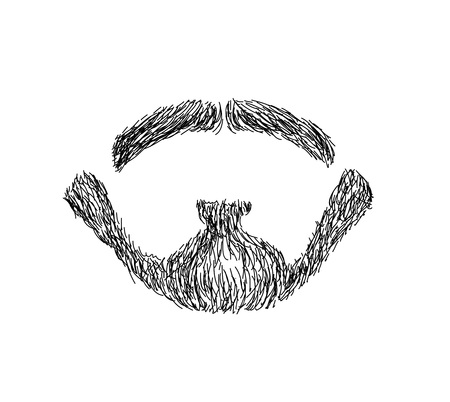 article icon: Hand drawn mens beard - trendy, barbershop, lumberjack, hipster VECTOR ART Illustration