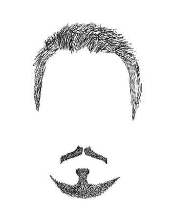 article icon: Hand drawn mens beard with haircut - trendy, barbershop, lumberjack, hipster VECTOR ART Illustration
