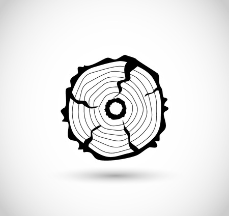rings on a tree cut: Log icon, vector sawmill