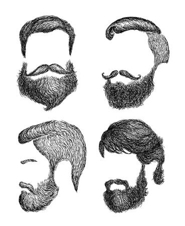 men's: Hand drawn mens haircut with beard collection - trends, brabershop, lumberjack, hipster VECTOR ART