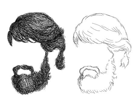 men's: Hand drawn mens haircut beard with - trends, brabershop, lumberjack, hipster VECTOR ART