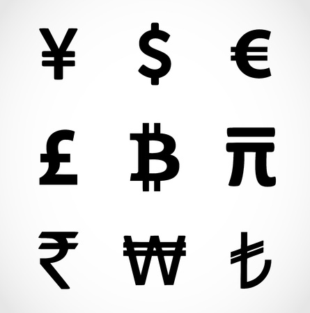 yuan: Currency icons set. Black over white background. vector