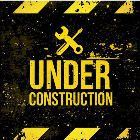 Yellow - black grunge sign Under Construction vector