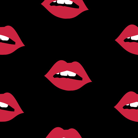 Black repetitive pattern with sexy red lips vector
