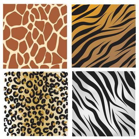 Wild African animals set vector pattern Stock Photo