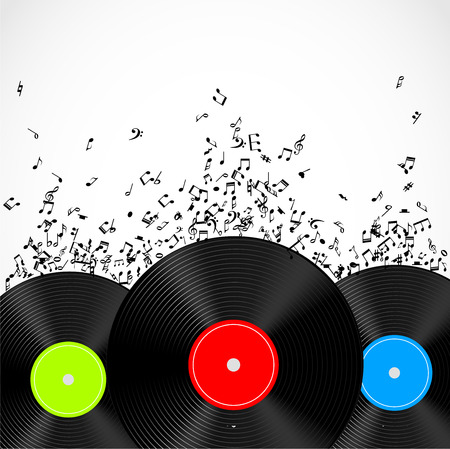 disk jockey: Music illustration with vinyl records and music notes vector