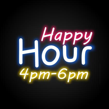 Happy Hour neon vector Imagens