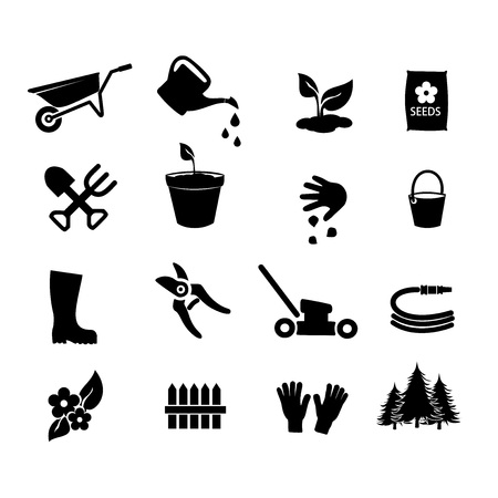 raking: Garden icon set vector