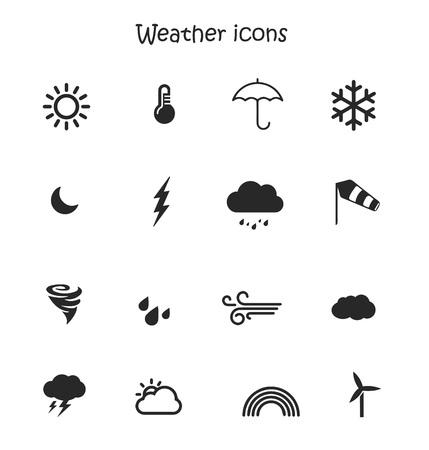 Weather forecast, meteorology icon set Imagens