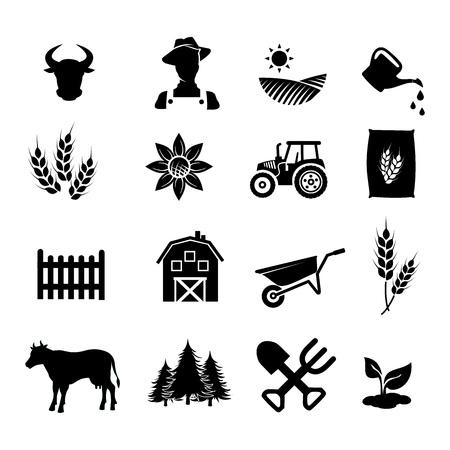 sun: Farm icon set vector