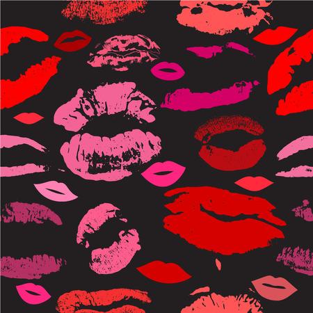smooch: Lips print pattern vector Stock Photo