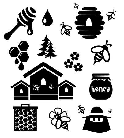 pouring: Honey icon set vector Stock Photo