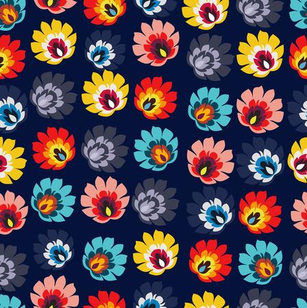 전통 폴란드어 민속 꽃 패턴 벡터