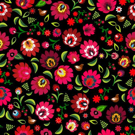 Polish folk floral pattern vector Vektorové ilustrace