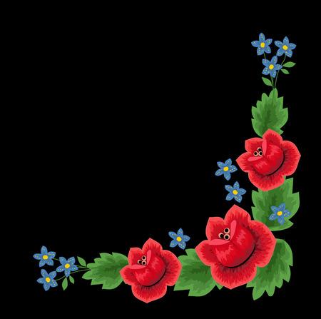 Polish folk floral embroidery decoration vector