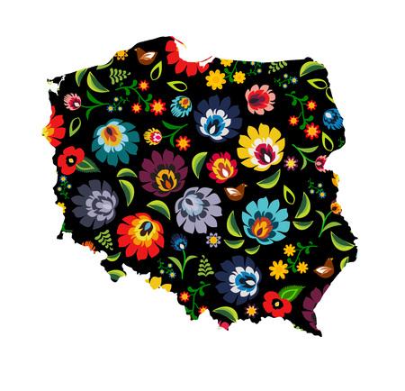 folkart: Poland shape filled with colorful traditional Polish folk pattern vector Illustration