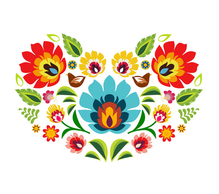 repetitive: Heart made of polish folk floral pattern elements vector