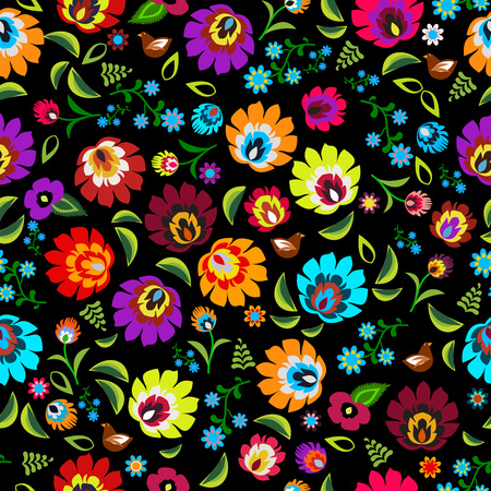 Polish folk floral pattern vector