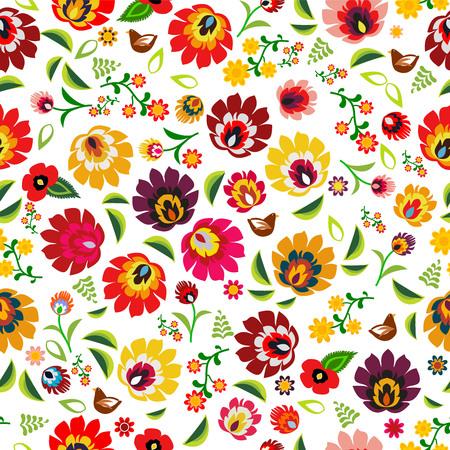 Traditional Polish folk floral pattern vector