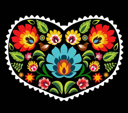 Heart made of polish folk floral pattern elements