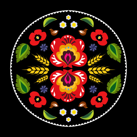 Round Polish folk decoration vector