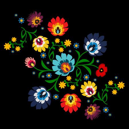 伝統的なポーランドの花フォーク パターン ベクトル