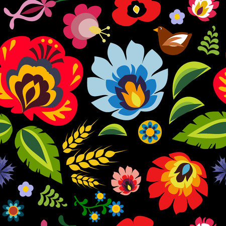 repetitive: Traditional Polish folk floral pattern