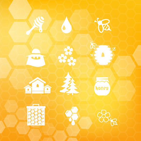 Honey icon set vector Illustration