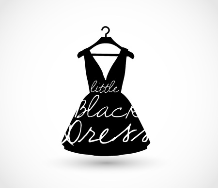 hangers: Little black dress on a hanger icon vector Illustration